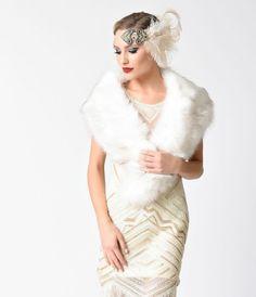 Vintage Style Ivory Faux Fur Shoulder Stole