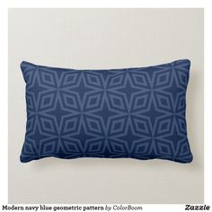 Modern navy blue geometric pattern lumbar pillow Navy Blue Bedrooms, Blue Living Room Decor, Blue Home Decor, Navy Blue Cushions, Navy Blue Throw Pillows, Personalized Pillows, Custom Pillows, Decorative Pillows, Living Room Cushions