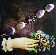 Handmade decoupaged silver and purple pansies  spoon bracelet by AnnasHaberdashery on Etsy