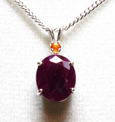 Ruby and fire opal accent pendant  w/ 18 by Michaelangelas on Etsy, $69.50