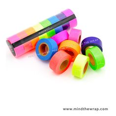 8 rolls Masté Neon Japanese Washi Tape Set - Bright Colors Highlighter tape - Glowing UV Reactive