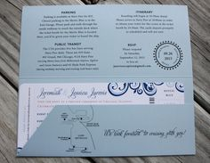 navy sky blue pink swirls cruise ship chicago skyline boarding pass wedding