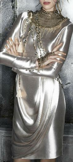 """Luv this Chanel. """"Liquid"""" fabric, gorgeous necklace, the colour ... mix this…"""