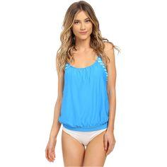 Next by Athena Barre To Beach Double Up Tankini (Deep Marin) Women's... (365 DKK) ❤ liked on Polyvore featuring swimwear, bikinis, bikini tops, blue, padded bikinis, blouson tankini, sporty bikini tops, blue bikini and slimming bikinis