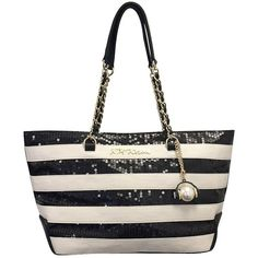 Betsey Johnson Striped Sequined Tote ($118) ❤ liked on Polyvore featuring bags, handbags, tote bags, stripe, betsey johnson purses, white tote, stripe tote, chain purse and betsey johnson tote