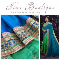 Maharani Silk Blue & Green Royal Sari with Pink Detail and Green Embroidered unstitched blouse