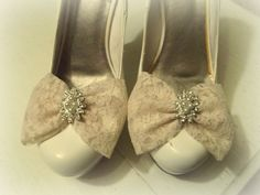 Wedding Shoe Clips Bridal Champagne Lace Pearls Rhinestones Engagement NEW #kathyjohnson
