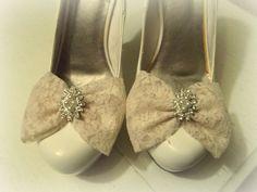 Wedding Shoe Clips Bridal Champagne Lace Pearls Rhinestones Engagement NEW #kathyjohnson
