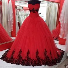 Gothic Ball Gown Wedding Dresses Black and Red Tulle Bridal Prom Gowns Plus SIZE #Handmade #BallGown #Formal