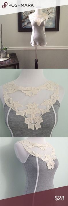 Gray fitted Tank Top lace bodice New with tags. Stretchy gray tank top with lace trim bodice. Small. Tops Tank Tops