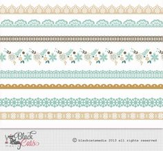 Flower frames and Lace Digital Clipart Ribbons by BlackCatsMedia