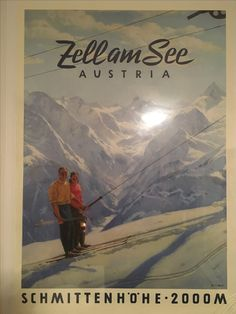 Zell Am See ski area, Austria Vintage Ski, Vintage Travel Posters, Snow Place, Nordic Skiing, Ski Posters, Old Signs, Austria, Ulice, Luggage Labels