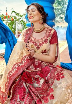 Cream georgette embroidered festival wear saree PRP5266 Pakistani Fashion Party Wear, Party Wear Sarees, Designer Sarees, Designer Wear, Festival Wear, Sari, Cream, How To Wear, Stuff To Buy