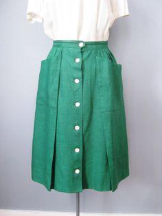 Green Linen Skirt / Vtg 60s / Button up by EmotionalOutletShop