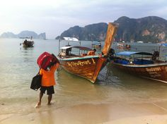 We stayed at Bay View Resort on Phi Phi Island. This is how they transport our luggage to and from the resort. Phi Phi Island, Thailand Travel, Travel Pictures, Transportation, Travel Tips, Road Trip, Boat, World, The World
