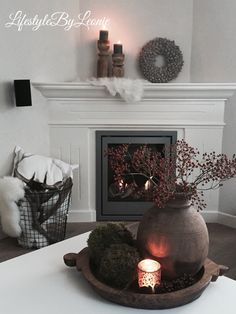 – Margreet Kaptijn - Coby Schut - Re-Dekoration Diy Fireplace, Living Room With Fireplace, My Living Room, Home And Living, Romantic Home Decor, Cute Home Decor, Fall Home Decor, Deco Table, Home Decor Accessories