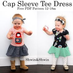A free pattern for a cap sleeve dress. Size 12-18m  For instructions please visit this post:  https://shwinandshwin.com/2014/01/cap-sleeve-tee-dress-free-pdf-pattern.html