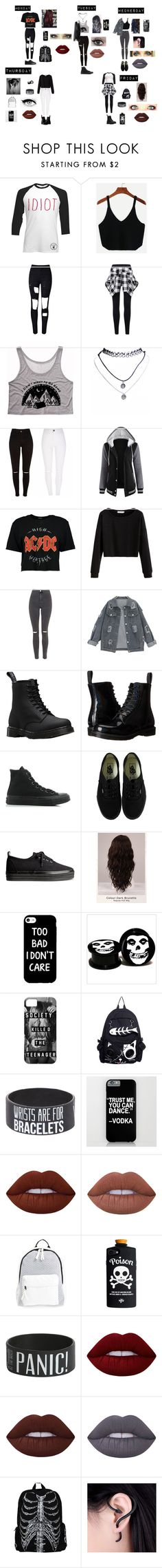 """""""How I Punk Rock"""" by tomlinsons-unicorn18 ❤ liked on Polyvore featuring WithChic, Wet Seal, Boohoo, Topshop, Dr. Martens, Converse, Vans, H&M, WigYouUp and Lime Crime"""
