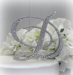 5 Inch Monogram Cake Topper Decorated with Swarovski Crystals in Any Letter A B C D E F G H I J K L M N O P Q R S T U V W X Y Z