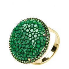 Stingray Circle Ring Green (3.025.090 IDR) ❤ liked on Polyvore featuring jewelry, rings, leather ring, star jewelry, pave jewelry, handcrafted rings and pave ring