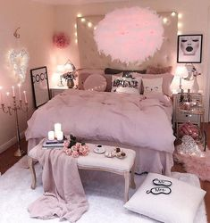 Cozy Home Decorating Ideas for Girls Bedroom - Bedroom Decor Ideas Cute Bedroom Ideas, Girl Bedroom Designs, Room Ideas Bedroom, Girls Bedroom, Girl Rooms, Master Bedroom, Cozy Bedroom, Bed Room, Diy Room Decore For Teens