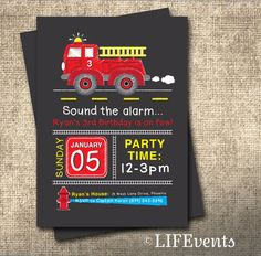 Firetruck Birthday Invitation Chalkboard, Firefighter Birthday Invitation for Children Digital File