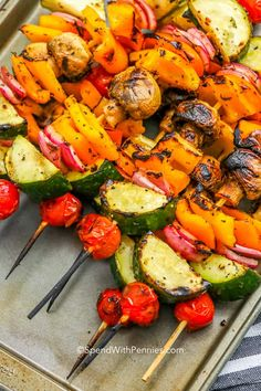 Vegetable kabobs are an easy and versatile recipe that allows you to grill whatever fresh veggies you have on hand. Marinade them in this olive oil and herb seasoning and toss on the grill for 10 minutes. So quick and simple to enjoy on any night of the week. #spendwithpennies #vegetablekabobs #shishkabobs #skewers #herbmarinade #sidedish #grilled #vegetables Veggie Kabob Marinade, Grilled Vegetable Marinade, Marinated Grilled Vegetables, Grilled Vegetable Skewers, Bbq Vegetables, Grilled Vegetable Recipes, Vegetarian Skewers, Vegetarian Recipes, Healthy Recipes