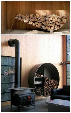 I love the different designs for wood storage, that Lundberg has designed for his own cabin in Cazadero