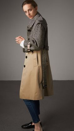 Donegal Tweed and Cotton Gabardine Trench Coat in Natural White/black - Women | Burberry