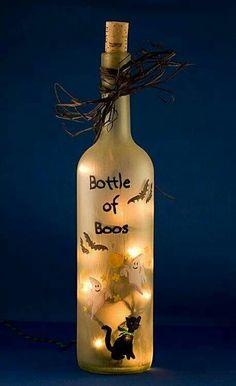 """Halloween neighbor idea... Attach """"bottle of boos"""" to any ol alkyhall. ;)"""