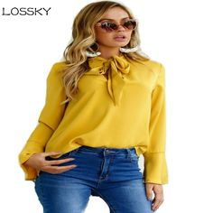 Don't Be Shy! Come on in... LOSSKY  Elegant W... http://ti-amo-boutique.myshopify.com/products/lossky-elegant-women-long-flare-sleeve-blouses-autumn-black-irregular-lace-up-women-tops-casual-ladies-ruffle-blouse-shirts?utm_campaign=social_autopilot&utm_source=pin&utm_medium=pin