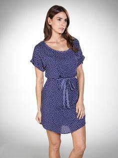 Splendid: Polka Dot T Shirt Dress in Denim/White $128