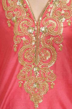 SEEMA KHAN Coral pink embroidered straight kurta set available only at Pernia's Pop-Up Shop.