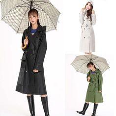 Waterproof Womens Ladies Long Sleeve Hooded Rain Jacket Raincoat Rainwear #RaincoatsForWomenLongSleeve