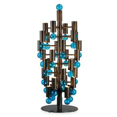 """table lamp. Central column on foot, carrying light arms on which are fixed """"bubble"""" blown Venetian glass. Structure entirely made of polished brass, transparent bubbles or colors!"""