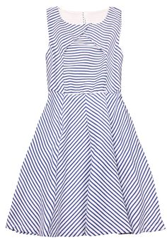 Blue Sleeveless Striped Back Split Ruffles Dress