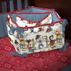 western fabric for baby bedding   Western Cowboys Crib Bumper   Carousel Designs