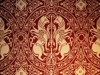 Mittelalterstoff Replik Wollbrokat purpur 1095