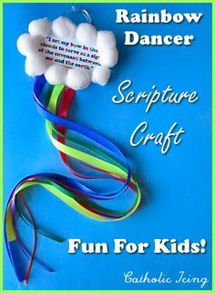 DIY Rainbow Bible Craft- make rainbow ribbon dancers! Available with free scripture printable on clouds. Fun, cute, and educational! :-) Great for your Children's Ministry, Children's Church or Sunday School Scripture Crafts, Bible Story Crafts, Bible School Crafts, Bible Crafts For Kids, Vbs Crafts, Printable Scripture, Preschool Bible Crafts, Toddler Church Crafts, Rainbow Crafts Preschool