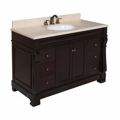 Kitchen Bath Collection Bella Single Sink Bathroom Vanity with Marble Countertop Cabinet with Soft Close Function and Undermount Ceramic Sink WhiteChocolate 60 ** You can find more details by visiting the image link. Single Sink Bathroom Vanity, Small Bathroom, Bathrooms, Master Bathroom, Bathroom Ideas, Bathroom Organization, Master Master, Bathroom Marble, Minimal Bathroom