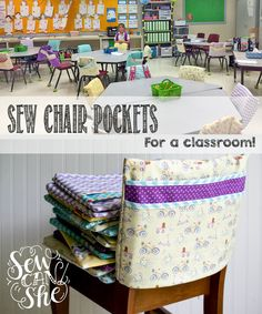 Sew Chair Pocket. Going to do this for the kitchen table to store homework supplies (pencil, eraser, pencil sharpener, etc) ~KC