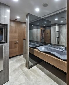 Image 2 of 40 from gallery of Mermerler Plaza / Ergün Architecture. Photograph by Cemal Emden Restroom Design, Modern Bathroom Design, Kitchen Design, Toilet Cubicle, Ada Bathroom, Public Bathrooms, Vanity Design, Toilet Design, Office Interiors