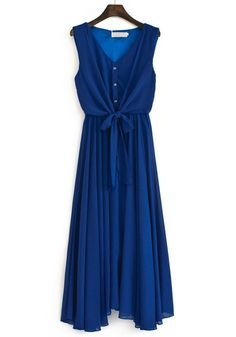 Blue False 2-in-1 Irregular V-neck Chiffon Dress- Pretty! Love this bold color, shape and length.