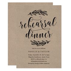 This rustic engagement party dinner wedding invitation design features hand drawn country laurels with a fun calligraphy font. Brunch Invitations, Rehearsal Dinner Invitations, Wedding Rehearsal, Rustic Invitations, Wedding Invitations, Invitation Design, Printable Invitations, Country Rehearsal Dinners, Bridal Shower Rustic