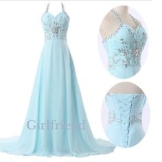 Elegant ice blue chiffon long beaded lady prom dress, graduation dress, evening dress from Girlfriend