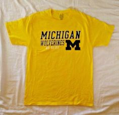 Pro Edge Mens Size M T-Shirt Michigan Wolverines Go Blue Yellow NCAA College #ProEdge #MichiganWolverines