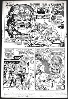 Here's a page from the Captain America story in TALES OF SUSPENSE #94 by Jack Kirby and Joe Sinnott, introducing M.O.D.O.K.  Some Kirby border notes remain:  HE IS POWERFUL MIND  CAP SAYS—INCREDIBLE—HE CAN USE HIS MIND LIKE WEAPON—HIS BRAIN BEANS CAN PENETRATE WALLS—EVEN SHIELD  CAP (words obscured) FOR BATTLE—MODOK—RUSHES TO MEET HIM—SAYS—I DON'T NEED LONG, MUSCULAR LEGS TO BE FAST