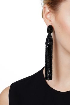 Rent Black Tassel Earrings by Oscar de la Renta for $60 only at Rent the Runway.