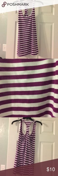 Charlotte Russe purple strip tank Charlotte Russe purple strip tank. Cotton. Racer back. Size medium. Charlotte Russe Tops Tank Tops