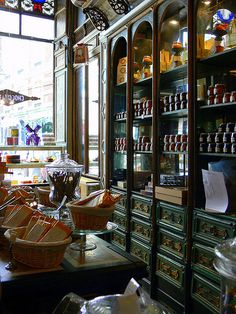A beautiful shop. Location, a mystery. Like the shelving for a pantry or wine cellar.